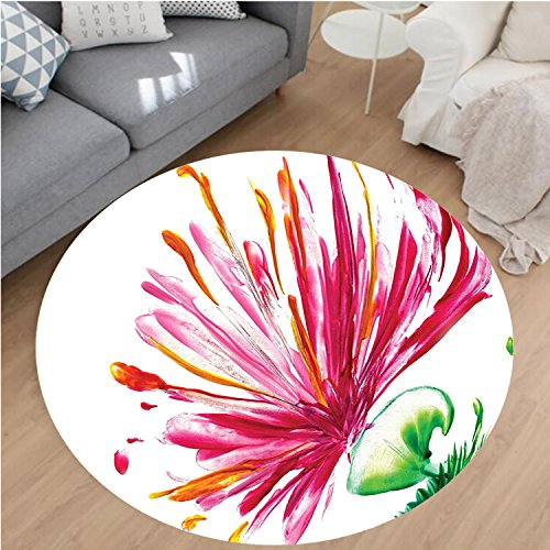 Asiatic Tiger Lily (Nalahome Modern Flannel Microfiber Non-Slip Machine Washable Round Area Rug-lower House Decor Opened Out Asiatic Oriental Lily Freesia Florets Home Art Fuchsia Green area rugs Home Decor-Round 55