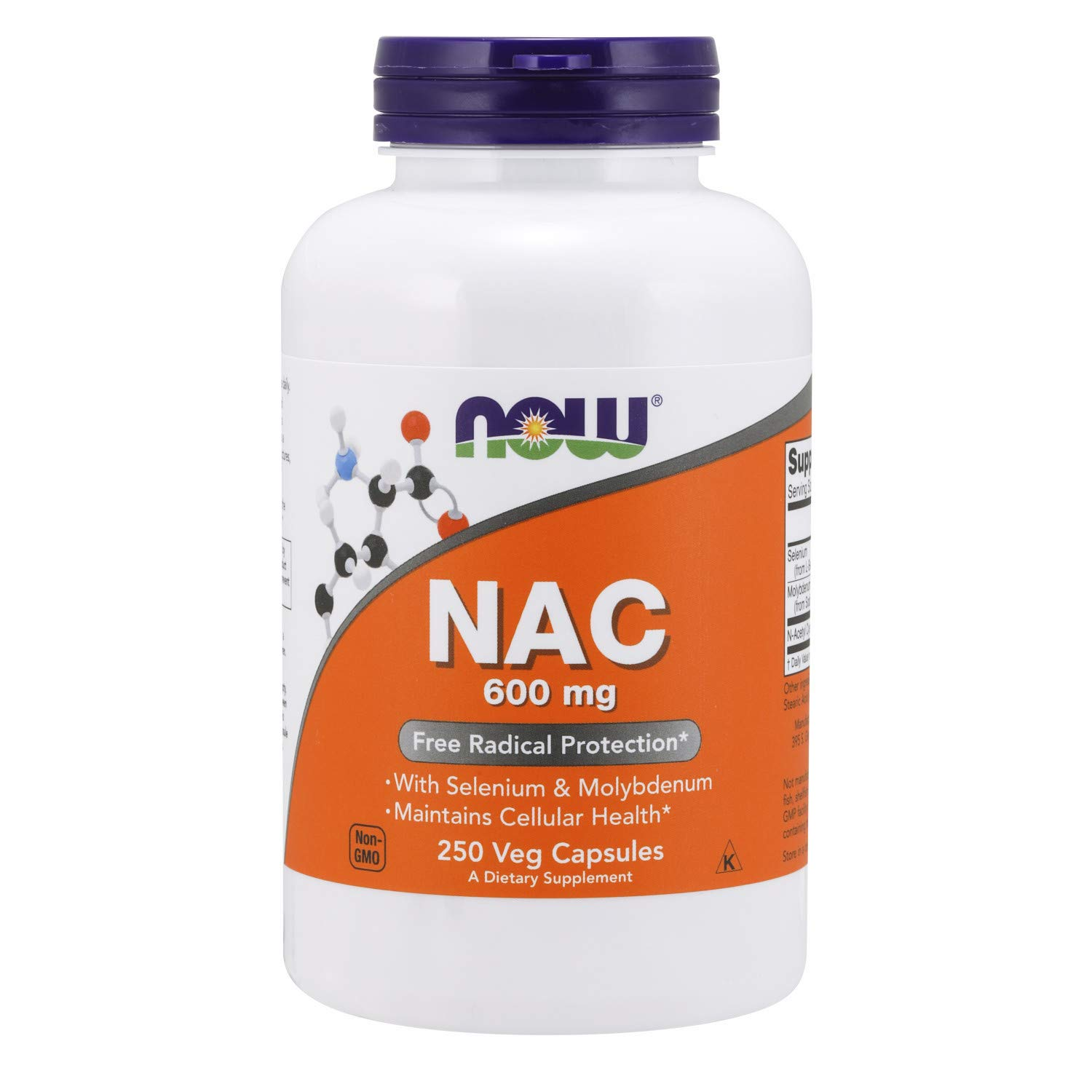 NOW Foods Supplements, NAC (N-Acetyl Cysteine) 600 mg with Selenium & Molybdenum, 250 Veg Capsules