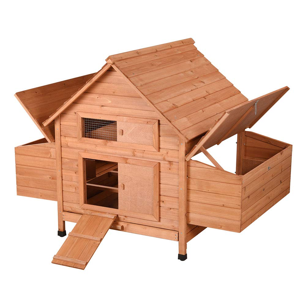 Yescom 59'' Wooden Chicken Coop Hen House Fir Wood with 2 Nesting Box Poultry Pet Small Animal Cage Hutch Backyard by Yescom