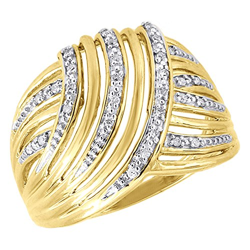 10K Yellow Gold Round Cut Diamond Ladies Swirled Domed Anniversary Band Cocktail Ring 0.10 Cttw ()