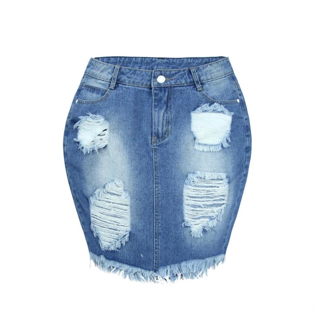 PHOTNO Women high waist denim ripped jeans skirt skinny short pencil skirt dress (XL, Blue)