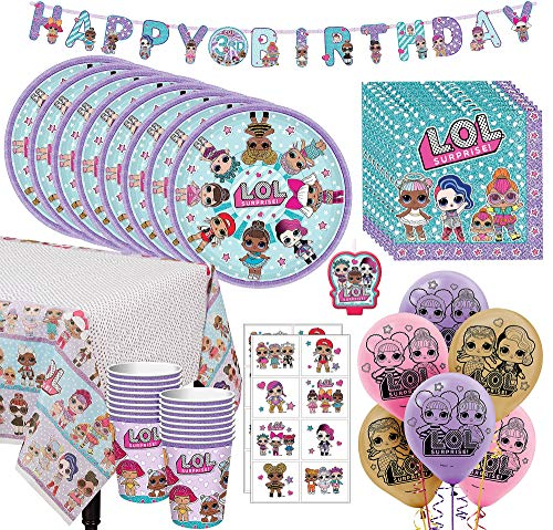 Party City LOL Surprise! Ultimate Tableware Kit for 16 Guests, 73 Pieces, Includes Decor, Balloons, and Favors]()