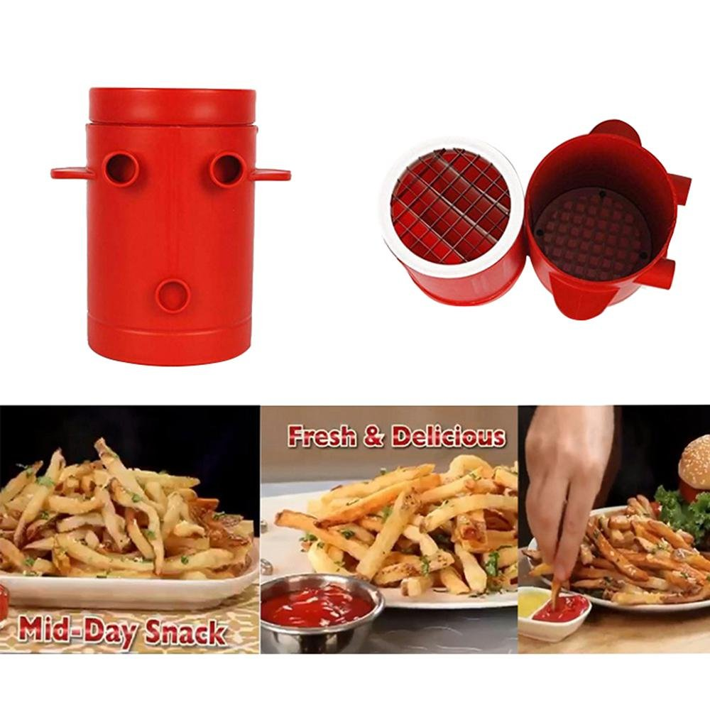Aolvo Potatoes Fries Maker - 2-in-1 Potato Slicers French Fries Maker Cutter Machine & Microwave Container As Seen on TV