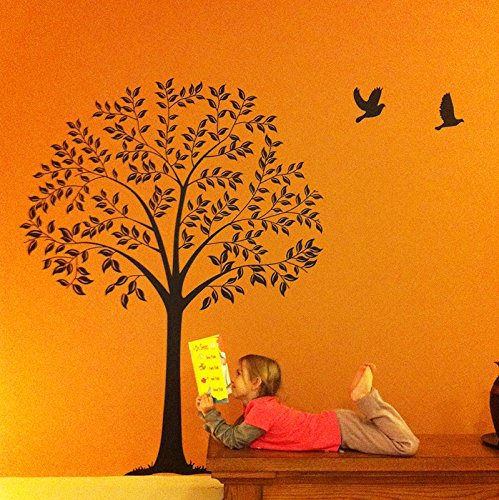 Linden Wallpaper - PopDecals - Linden Tree Dark Brown (57 in high ) - Beautiful Tree Wall Decals for Kids Rooms Teen Girls Boys Wallpaper Murals Sticker Wall Stickers Nursery Decor Nursery Decals