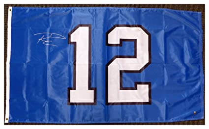 ba0c61db4 Russell Wilson Autographed Signed Seattle Seahawks 12th Man 3x5 12 Flag RW  Holo Stock  130716