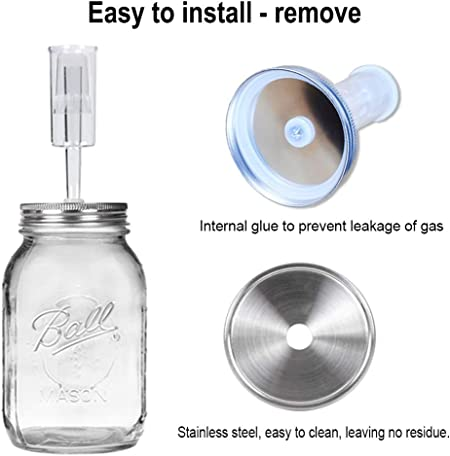 DYKL Fermentation Lids For Wide Mouth Mason Jars,Mason Jar Fermenting Lids Airlock,4 Sets,Mason Jar Fermentation Kit and Easy to Clean in Dishwasher,8 Writable Label Stickers Excluding Jars
