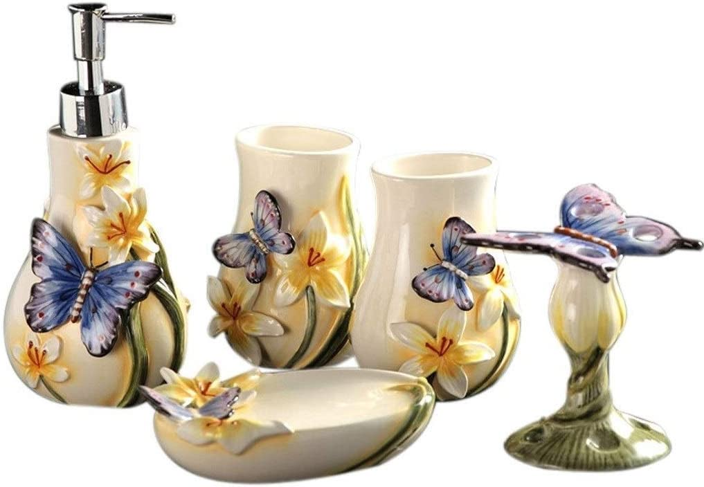 Set di Accessori da Bagno con Dispenser di Sapone e portaspazzolini ZJJ Set Creativo di Accessori da Bagno con Farfalle e Fiori in Ceramica