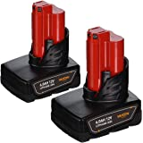 2Pack 6.0Ah Lithium-ion Battery Compatible with Milwaukee 12v Battery M-12 48-11-2410 48-11-2420 48-11-2411 48-11-2401 48-11-