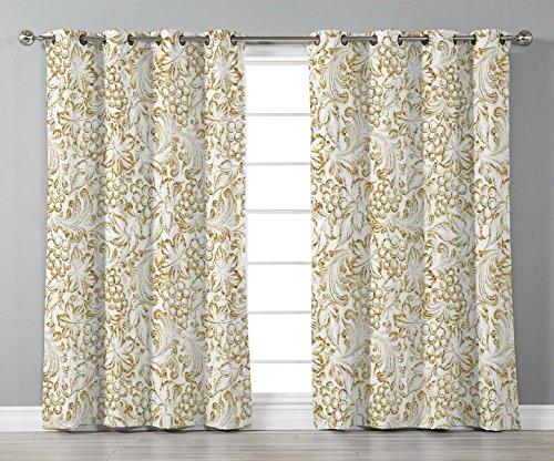 (Stylish Window Curtains,Kitchen Decor,Golden Grape Vine Classic Victorian Pattern Invitation Background Wine Dine Illustration,Gold White,2 Panel Set Window Drapes,for Living Room Bedroom Kitchen)