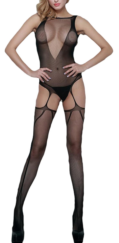 7fc4d05a7d6cf Lukis Women Sheer Mesh Suspender Bodystocking Crotchless Bodysuits:  Amazon.co.uk: Clothing