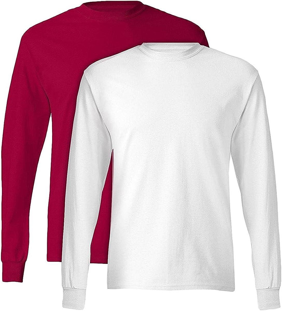 Hanes Tagless Long-Sleeve T-Shirt (Set of 2) 1 Deep Red + 1 White