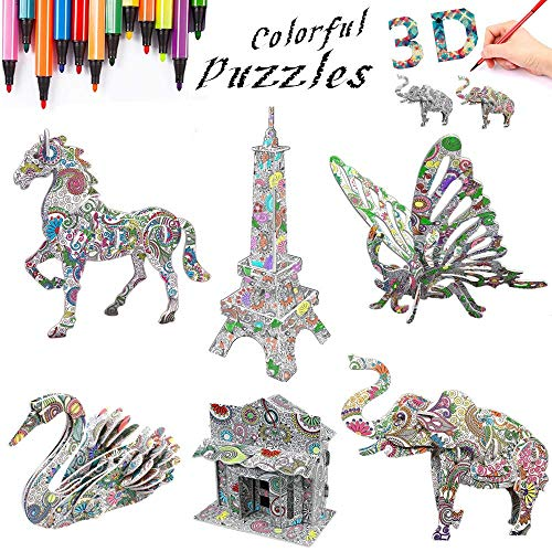 3D Coloring Painting Puzzles Set DIY Arts and Crafts for Girls & Boys-Perfect Creativity Kit & Ideal Kids and Adults Gifts! -STEM Educational Assembly Toys (6pack)