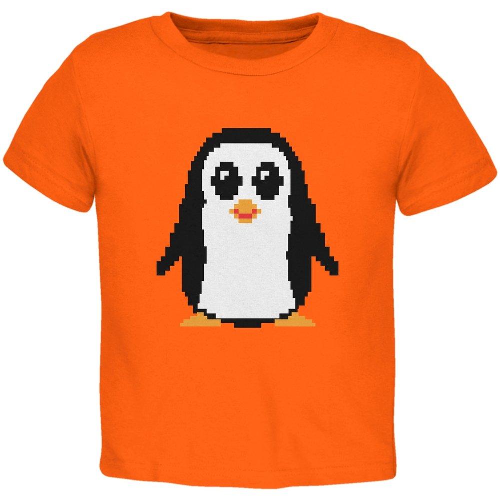8 Bit Penguin Orange Toddler T-Shirt