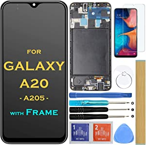 Screen Replacement LCD Display Touch Digitizer Assembly with Frame for Samsung Galaxy A20 A205 SM-A205F/DS SM-A205U A205FN A205GN/DS A205YN A205G/DS SM-A205W 6.4