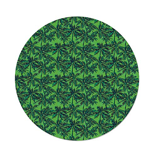 Polyester Round Tablecloth,Green,Tropical Island Forest Theme with Palm Trees Exotic Hawaii Nature Jungle Decorative,Jade Green Lime Green,Dining Room Kitchen Picnic Table Cloth Cover,for Outdoor Ind