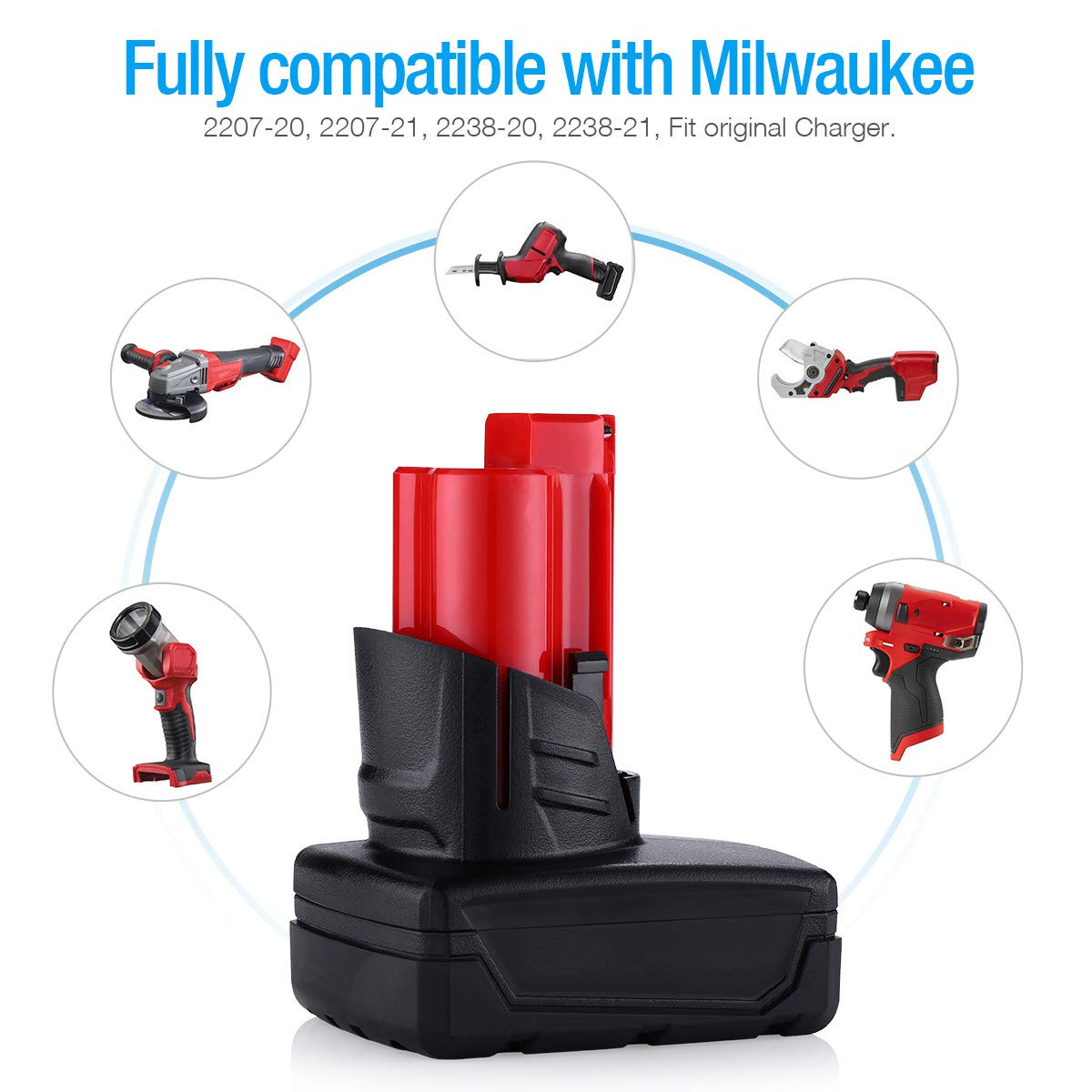 {Upgraded}Powerextra 6.0Ah 12V Lithium-ion Replacement Battery Compatible with Milwaukee M12 Milwaukee 48-11-2411 Lithium 12-Volt Cordless Milwaukee Tools,2 Pack