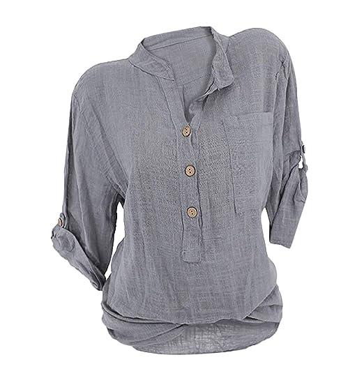 OranDesigne Damen Leinen Langarmshirt Freizeit Bluse V-Ausschnitt Button-Down Locker Hemd Shirt