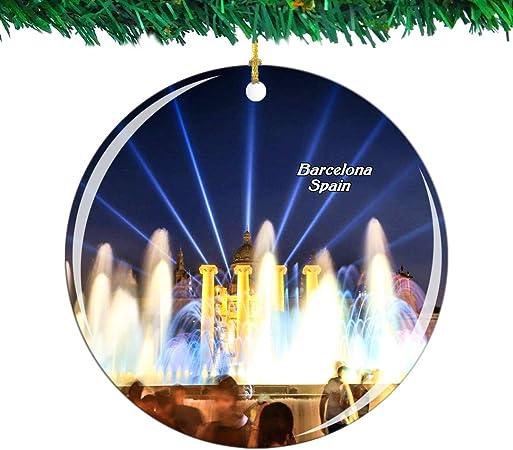 Weekino España La Fuente Mágica Barcelona Navidad Ornamento Ciudad Viajar Recuerdo Colección Doble Cara Porcelana 2.85 Pulgadas Decoración de árbol Colgante: Amazon.es: Hogar