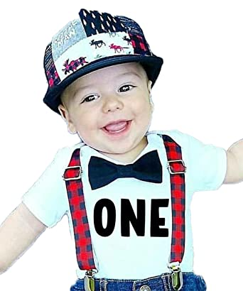 42a1689c Noah's Boytique Lumberjack First Birthday Outfits Boy Red and Black  BuffaloPlaid Black Bow Tie Cake Smash