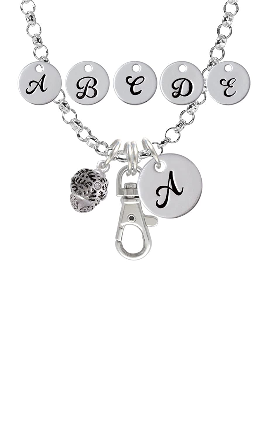 Snowflake with Crystal Spinner Custom Initial Badge Clip Necklace