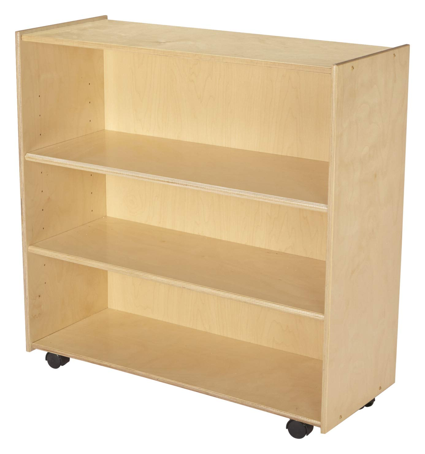 Childcraft Mobile Open Adjustable Shelving Unit with Locking Casters, 3 Shelves