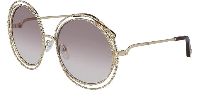 cb2e1200fb Chloé CARLINA CHAIN CE114SC GOLD LIGHT GREY BROWN SHADED women Sunglasses   Amazon.co.uk  Clothing