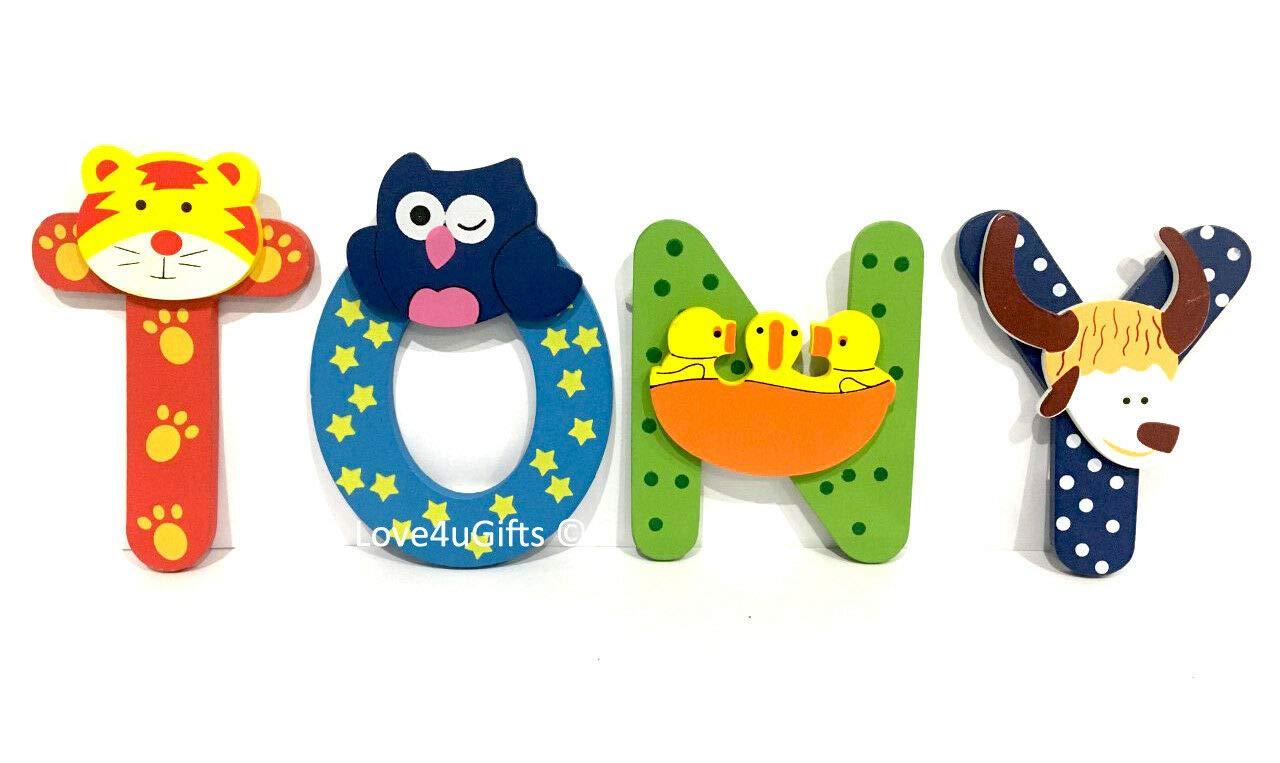 Wooden Jungle Animal Alphabet Letters Personalised Bedroom Wall Door Name L Letter