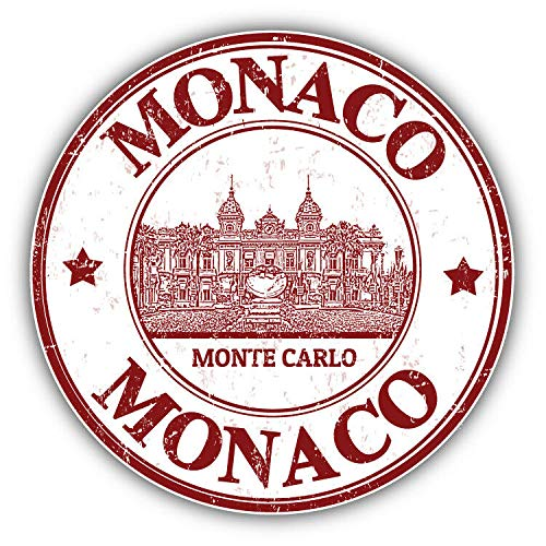 Monte Carlo Monaco Stamp Travel Vinyl Decal Sticker for Laptop Fridge Guitar Car Motorcycle Helmet Toolbox Luggage Cases 4 Inch in Width
