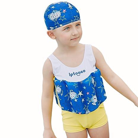 Kingswell - Bañador flotante para niños de una pieza, chaleco de entrenamiento con flotador de
