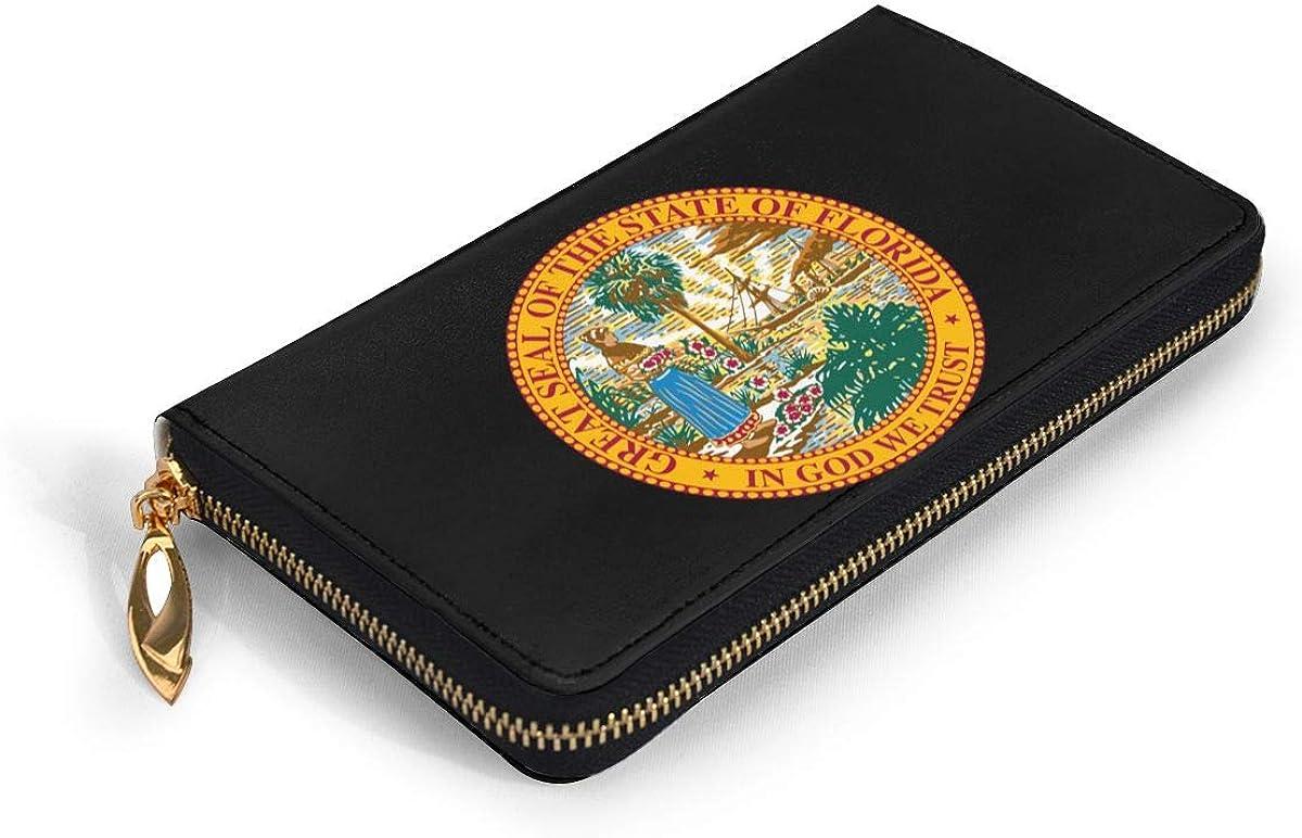 Florida Flag Wallets For Men Women Long Leather Checkbook Card Holder Purse Zipper Buckle Elegant Clutch Ladies Coin Purse