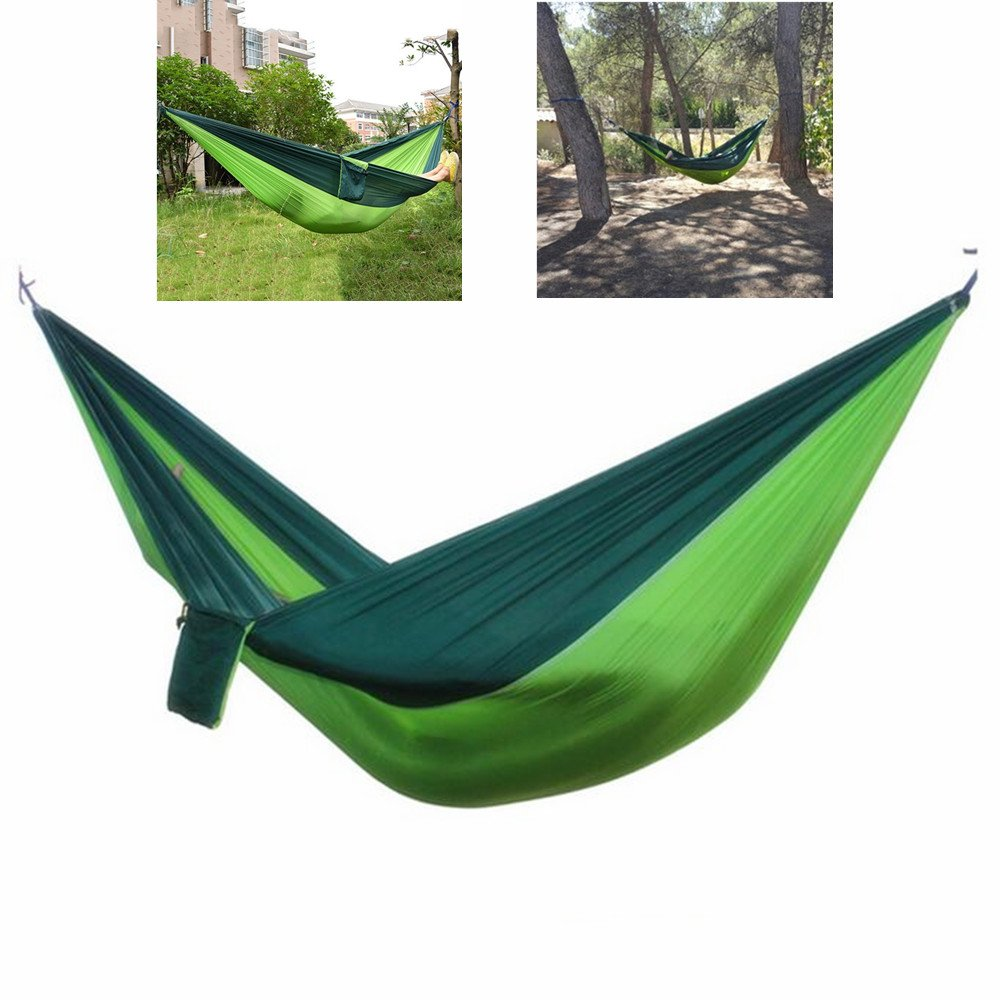 Hyl Newパラシュートナイロン生地ハンモックガーデンアウトドアキャンプ旅行家具ハンモックスイング睡眠ベッドフィットfor 1または2 Person B01NAISFEY