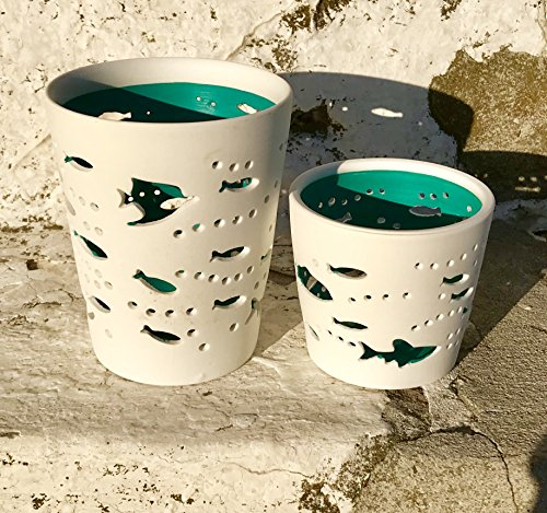 The Beach Chic Fish Wind-lights, Set of 2, White Bisque Porcelain, Turquoise Blue Hurricane, Nautical Coastal Style, 4 1/4 and 2 3/4 Inches Tall, By Whole House (Fish Votive Holder)