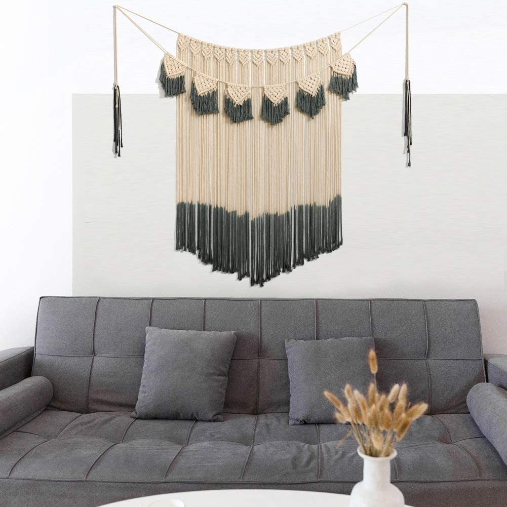 """ARTALL Wall Hanging Macrame Curtain Fringe Banner Bohemian Wall Decor Woven Tapestry Home Decoration for Wedding Apartment Bedroom Living Room Gallery 42"""" x 57"""" Ivory and Black"""