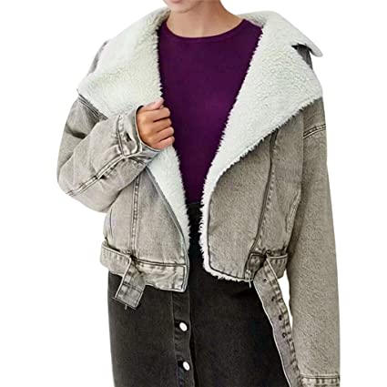 Amazon.com: Women Chaqueta Thick Coat Cowboy Lamb Cashmere ...