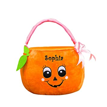 GiftsForYouNow Pumpkin Personalized Trick or Treat Bag