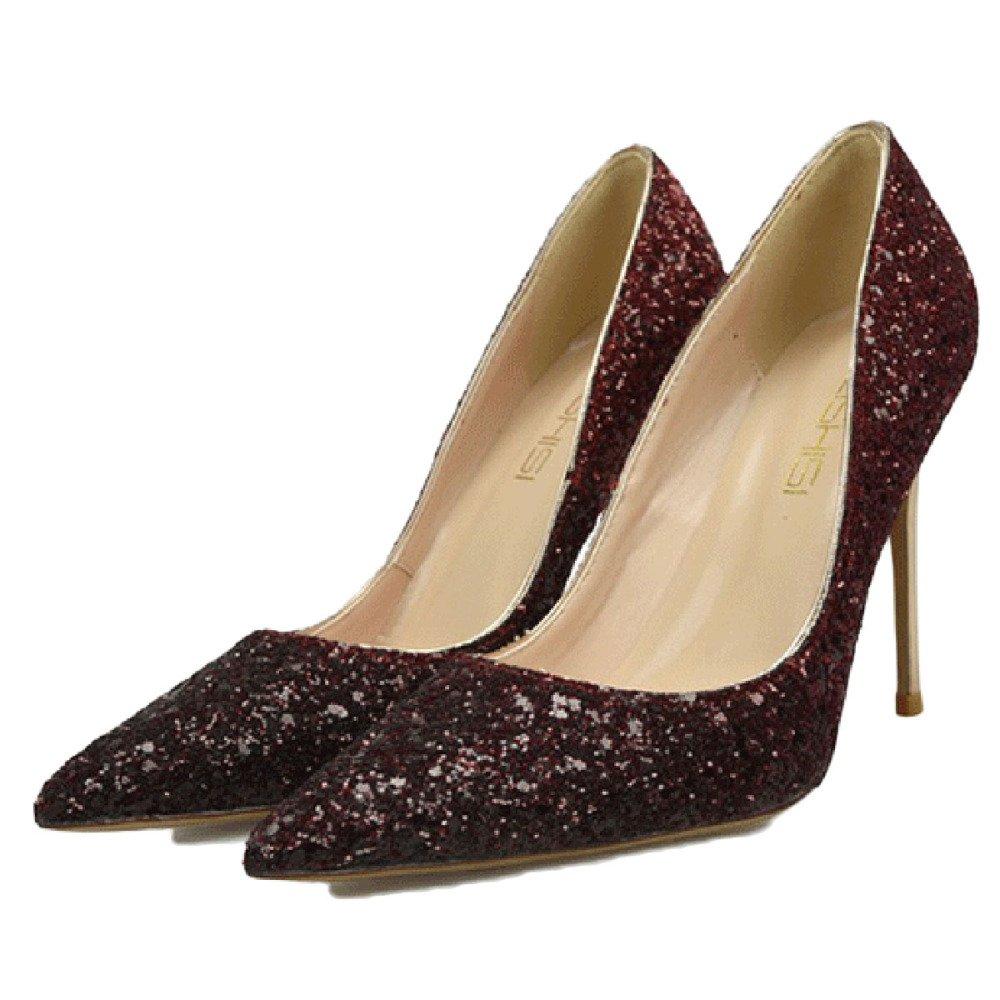 Zapatillas De Tacón Alto para Mujeres Stiletto Cerrado Zapatos De Trabajo Zapatos De Clubbing Gradient Lentejuelas Sexy Zapatos De Fiesta De La Boda 38 EU|Red