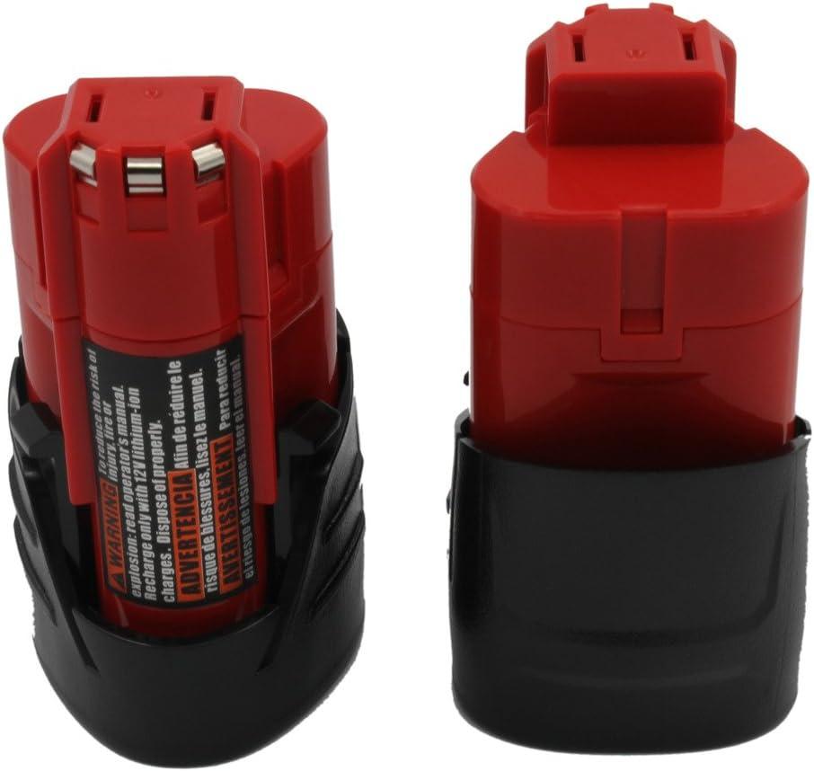 Batería recargable marca KINSUN Pack de 2 para herramientas electricas de batería 12V 1.5Ah Li-Ionç Compatible con Taladro inalambrico a Milwaukee  Destornillador modelos M12 48-11-2401 48-11-2402 C12 B C12 BX