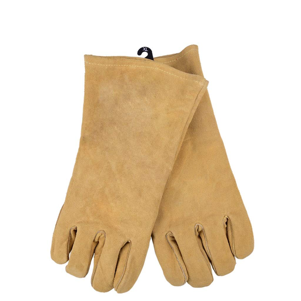 LSLMCS Welders Gloves Cow Split Leather FactoryGardening Welding Wood Stove Work Gloves Extreme Heat Fire Resistant Gloves Perfect for Fireplace14.2 Inches (Color : Yellow, Size : XL)