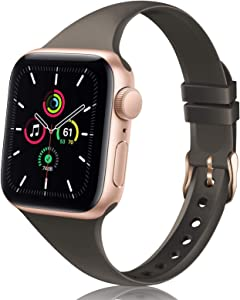 TSAAGAN Slim Silicone Band Compatible for Apple Watch Band 38mm 42mm 40mm 44mm, Sport Thin Soft Narrow Replacement Strap Wristband Accessory for iWatch Series 5/4/3/2/1 (Cocoa, 42mm/44mm)