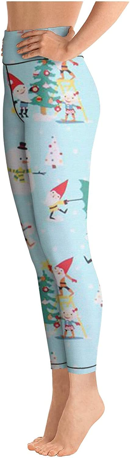Eoyles gy Womens High Waist Sweat-Wicking Christmas Little Gnomes Snow and Snowmen Athletic Pants for Yoga Leggings
