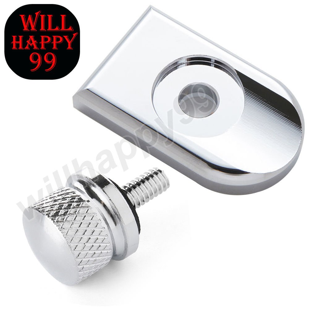 1/4'' Motorcycle Chrome Knurled Seat Bolt Screw Cap Mount Knob Cover