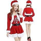 【 すぐ届く 】monoii サンタ コスプレ 女性 可愛い サンタコス 仮装 長袖 サンタクロース 衣装 コスチューム レディース 568