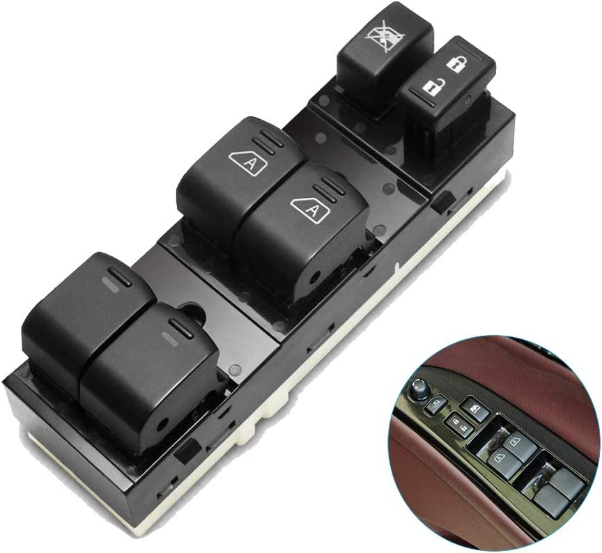 WMPHE Master Power Window Switch 25401-ZN50B Fits 2007-2012 Nissan Altima 4 Door Front with Auto Down Feature Front Left Driver Side Control Switch