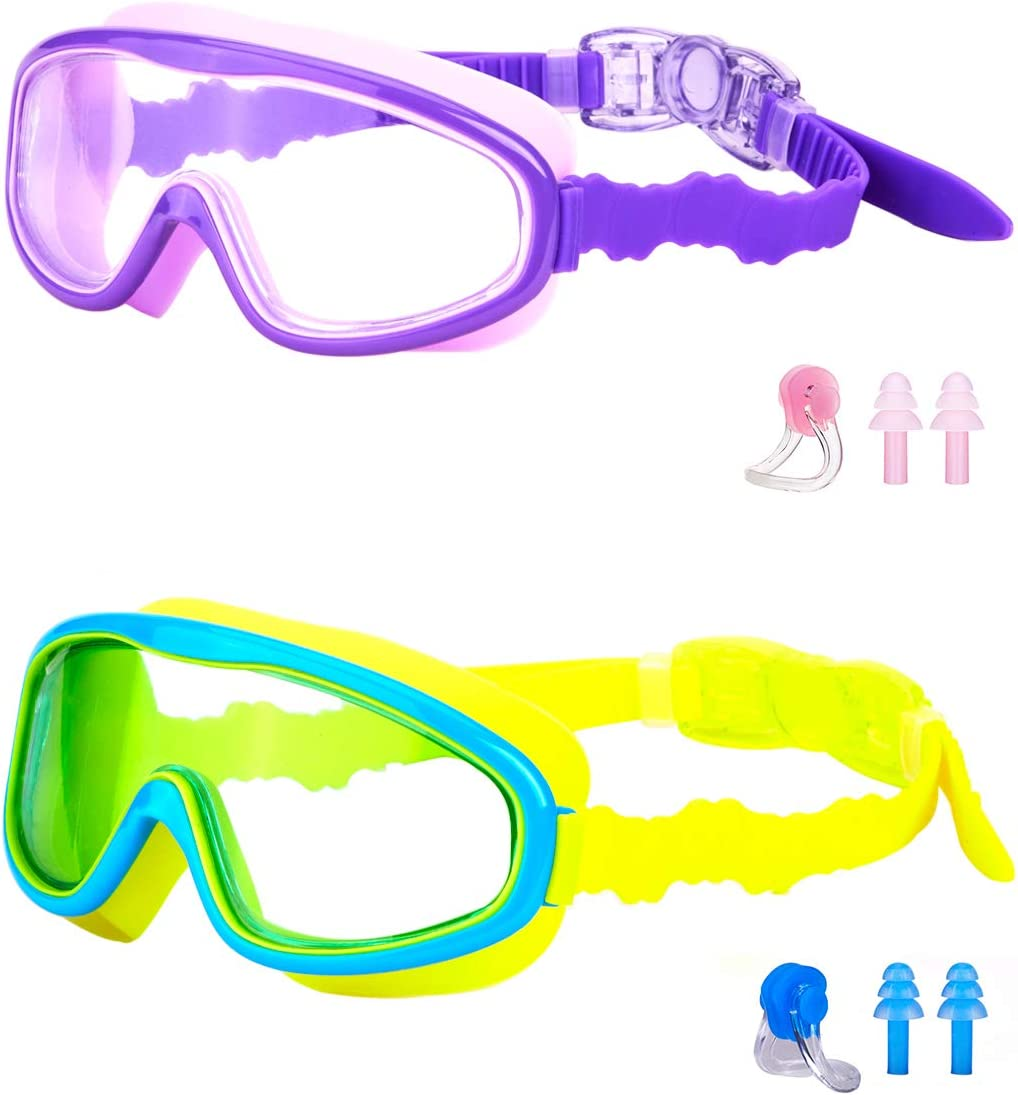 Wide View Crystal Clear Adjustable No-Leak Anti-Fog UV Protection Swimming Glasses with Nose Clip Earplugs for Toddlers Youth Child 4-15 Years Old KAILIMENG Kids Swim Goggles