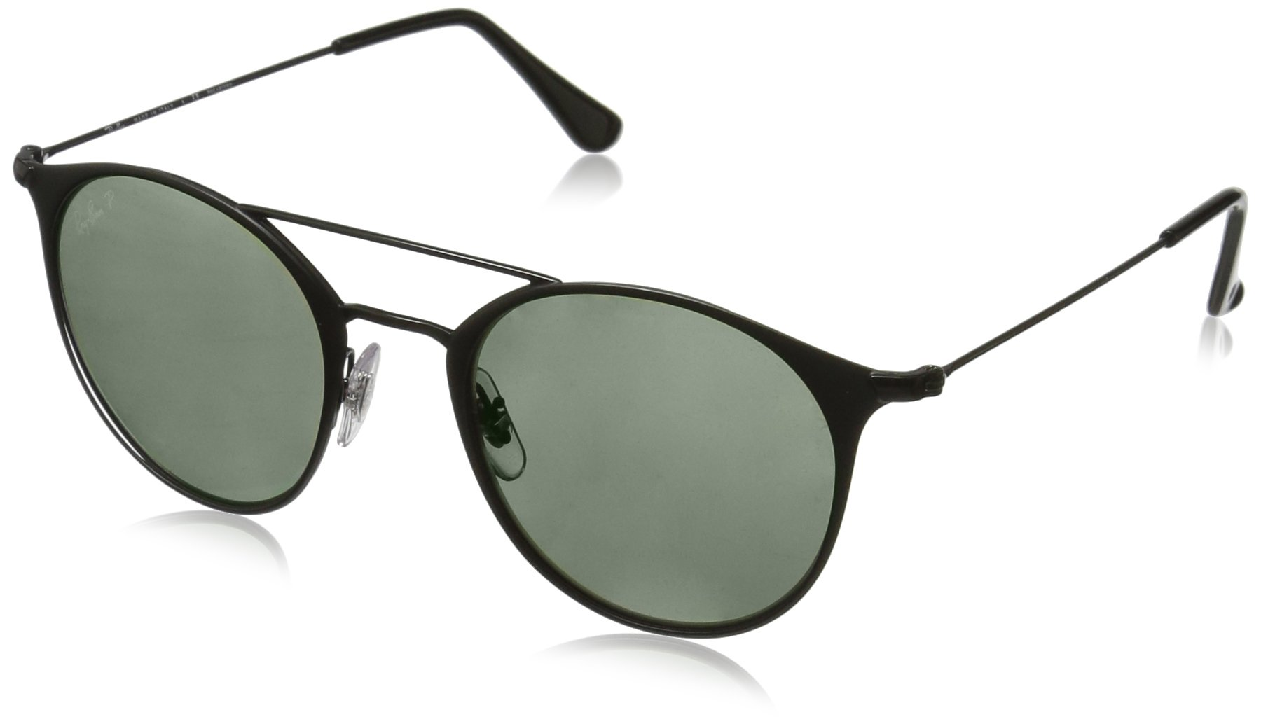 Ray-Ban Steel Unisex Polarized Round Sunglasses, Black Top Matte Black, 49 mm