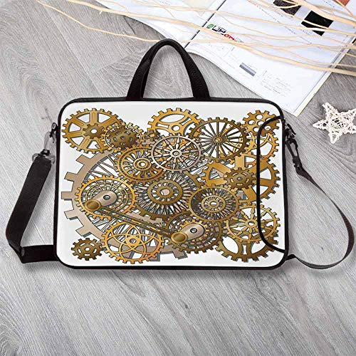 Clock Decor Neoprene Laptop Bag,The Gears in The Style of Steampunk Mechanical Design Engineering Theme Laptop Bag for Office Worker Students,15.4