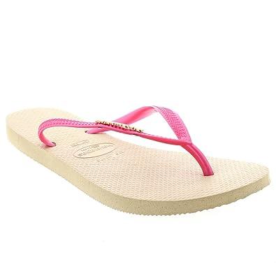 Damen Havaianas Slim Logo Metallic Lässig Strand Flip Flop Sandalen: Amazon.de:  Schuhe & Handtaschen
