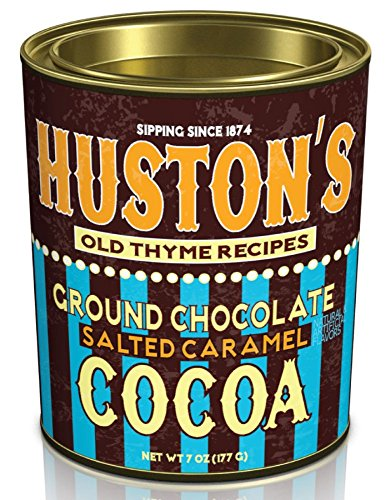 Hot Chocolate Cocoa Mix. Huston's Ground Chocolate Sweet & Creamy and Salted Caramel Cocoa Flavors In A 6.25 Oz. Oval Tin (Salted Caramel)