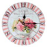 KI Store Silent Wall Clocks Non Ticking Large Round Vintage Rustic Decorative Clock (Champagne Rose)