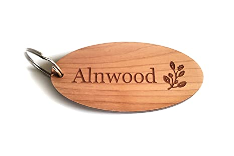Llaveros personalizado, madera maciza, oval o rectangular ...